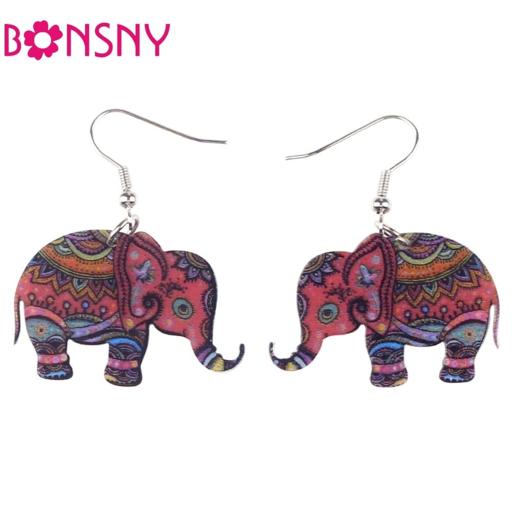 Primary image for Brand Drop Elephant Earrings Acrylic Pattern Long Dangle Earring Fashion Jewelry