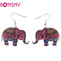 Brand Drop Elephant Earrings Acrylic Pattern Long Dangle Earring Fashion... - $9.19