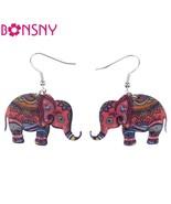 Brand Drop Elephant Earrings Acrylic Pattern Long Dangle Earring Fashion... - $9.19