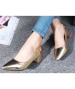 88H138 all size fashion block heeled pump ,Size 2-10.5, gold - $52.80