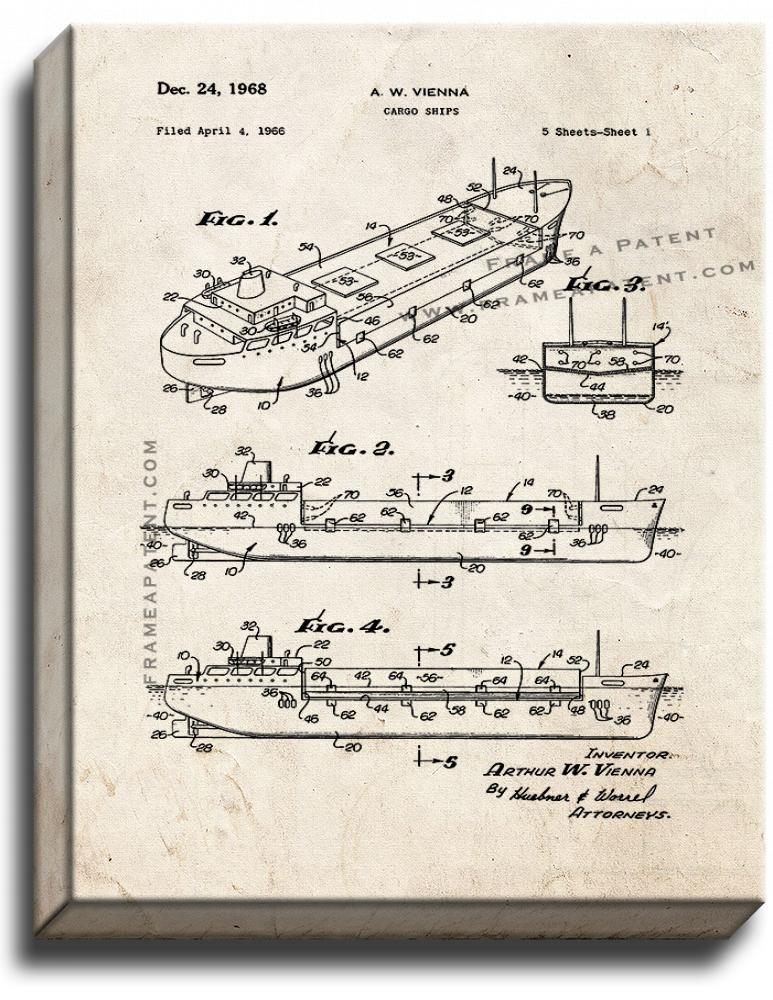 Primary image for Cargo Ships Patent Print Old Look on Canvas