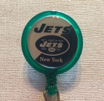 Primary image for Nfl New York Jets Badge Reel Id Holder green alligator clip handmade new