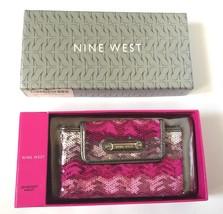 Nine West Instaglam Pink Sequin Sequined Pewter Metallic Clutch Wallet P... - $63.99