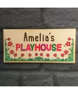 Personalised Playhouse Sign, Childrens Play House Plaque Kids Flowers Gi... - $12.40