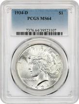 1934-D $1 PCGS MS64 - Peace Silver Dollar - $480.15