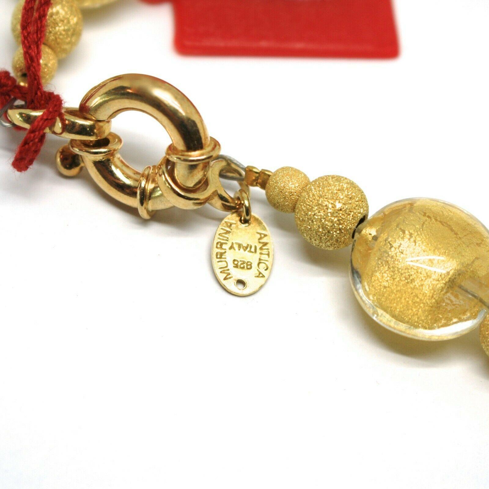 Halskette Antica Murrina Venezia, Glas Murano, 925 Silber, Blatt Gold, CO015A09