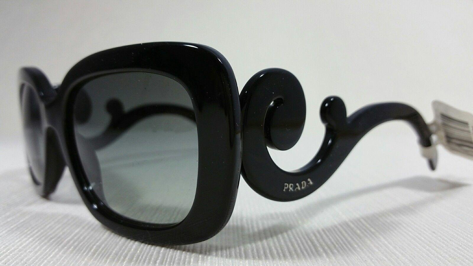 5a9f9ad52 57. 57. Prada SPR270 Black Square Frame Women's Sunglasses Gray Gradient  Lenses NWT