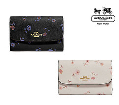 NWT COACH Medium Envelope Wallet Vintage Prairie Floral Cute Black Chalk... - $82.00