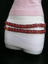 Femme Hip Taille Élastique Deux Rangs Argent Anneaux Métal Rouge Mode Ceinture image 4