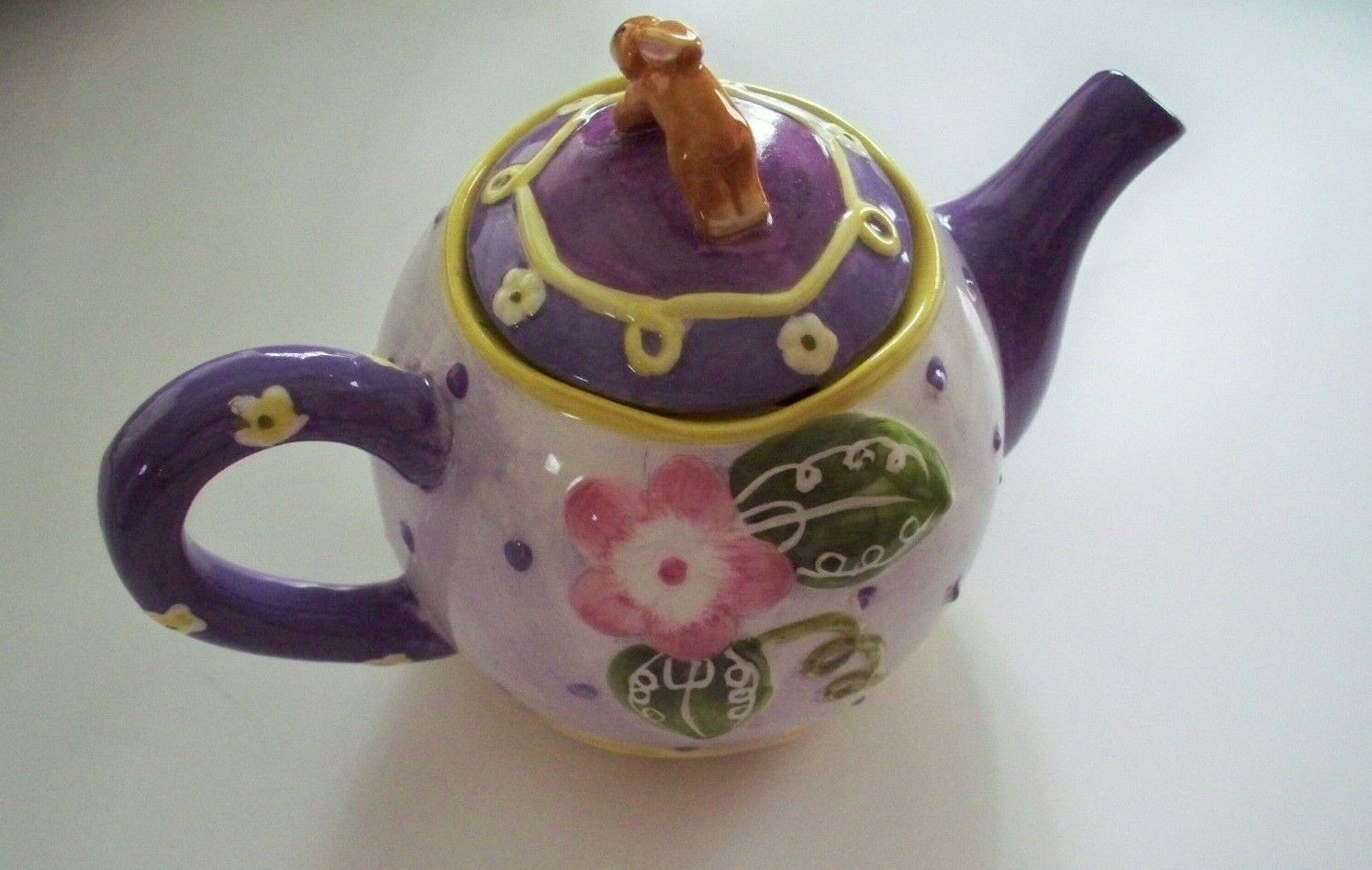 HOME INTERIORS TEA POT.--PURPLE,GREEN PINK