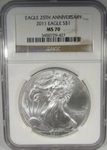 2011 Silver Eagle NGC MS70 25th Anniversary AJ747 - $66.66