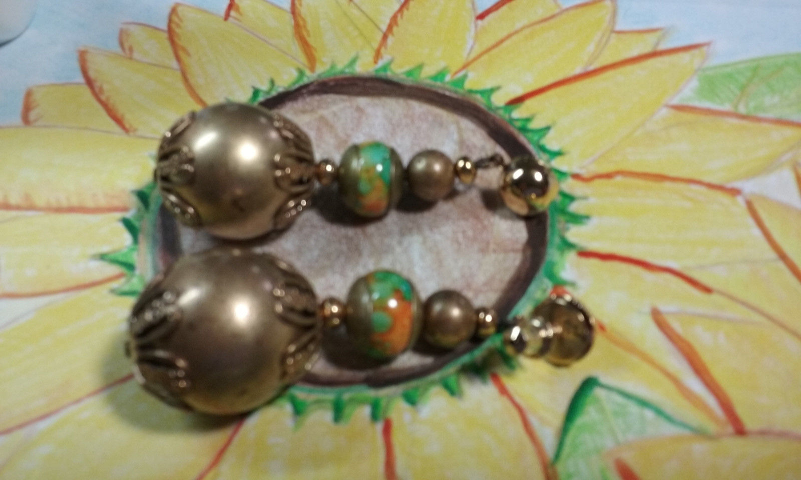 "Primary image for Vintage Jewelry:2"" Pierced Beaded Gold Tone Dangle Earrings 170821"