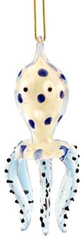 Glass Octopus Christmas Ornament, Blue, Glows in the Dark, 3.5 Inches