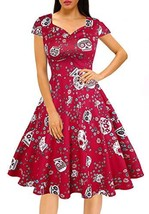 Women's Halloween Dress Pumpkin Sugar Skull Witch Printed Swing Sleevele... - $20.53