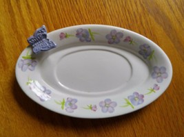 Hallmark Candle Holder Plate Ceramic Oval White with Purple Flowers & Butterfly - $12.99