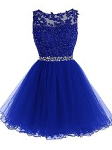 Short Lace Beaded Tulle Homecoming Dresses Sequined Appliques Cocktail P... - $117.00