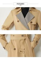 Women's European Autumn Winter Fashion Plaid Spliced Lapel Belted Trench Coat image 6