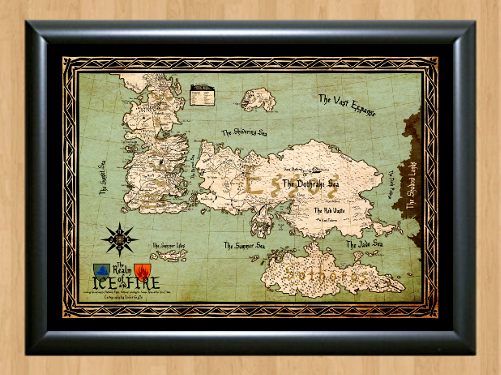 Primary image for Game Of Thrones Drawing Map GoT Deco A4 Photo Print Poster TV Show Memorabilia
