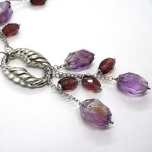 Silver necklace 925, FLUORITE OVAL Faceted Purple Cluster Pendant image 4