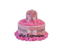 Princess Pink & Silver 2 Tier Diaper Cake, Princess Baby Shower Gift and... - $49.00