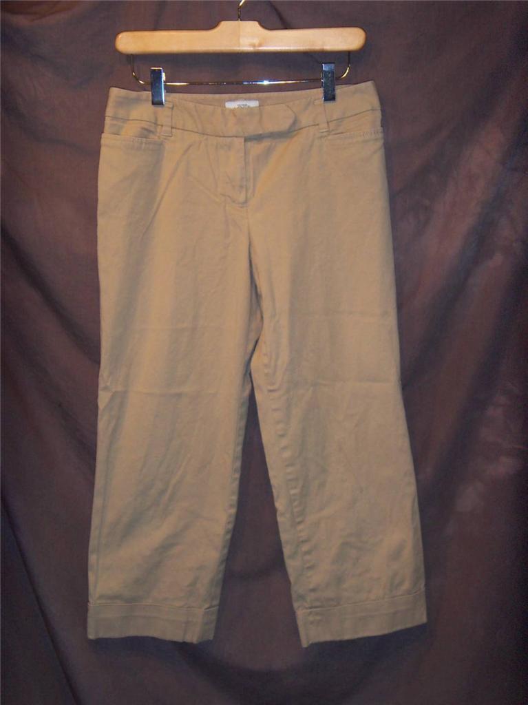 W6745 Womens ANN TAYLOR LOFT Tan Khaki Marisa Stretch CROPPED PANTS Capris 4 - $14.50