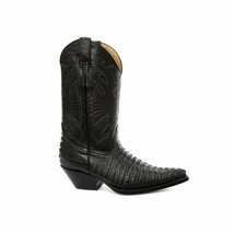 Grinders Carolina Croc Black Leather Crocodile Tail Boot Cowboy Western ... - €161,75 EUR