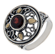 Solid Sterling Silver & 14 K Gold Garnet Ring»R26 - $89.50