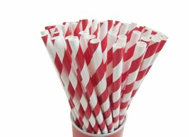 100pcs Paper Straws White Red Eco-Friendly 6mm 7 3/4'' Party Drinking Straw - $5.99