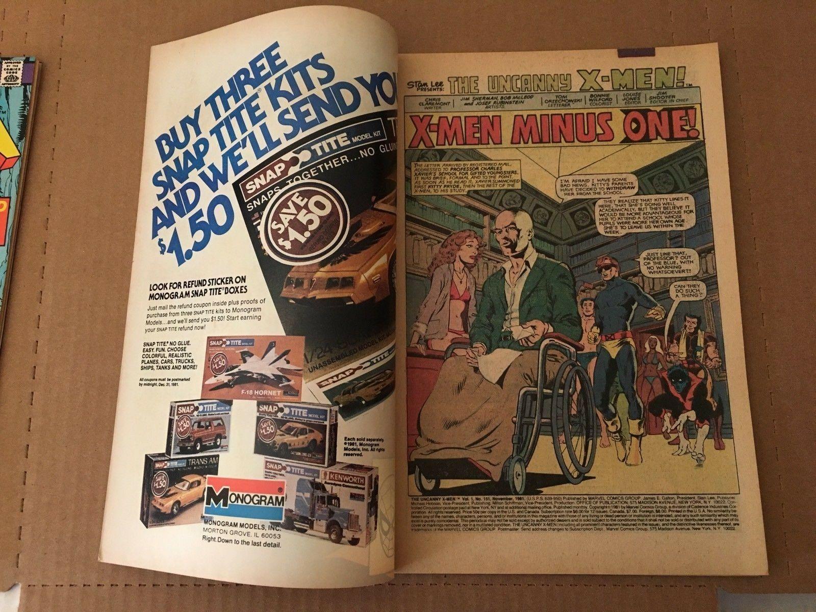 X-Men #151 Marvel Comic Book from 1981 VF Condition Uncanny X-Men
