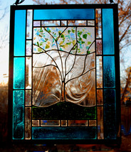 Winter Frost Family Tree Stained Glass Window Panel Teal Green Forest turquoise - $197.00