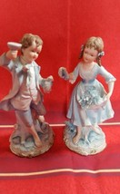 Blue Bisque Boy & Girl Holding Grapes - #7190 - Andrea by Sedak figurines - $18.50