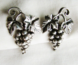 Danecraft sterling grape and leaf earrings screw backs vintage signed - $22.50
