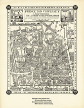 Historical Pictorial Map Princeton University Campus Buildings Wall Art ... - $12.87