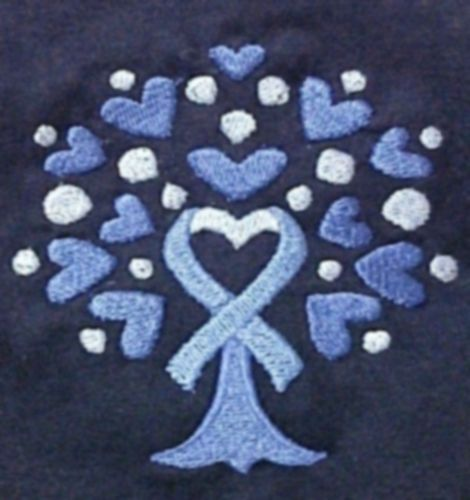 T Shirt XL Colon Cancer Awareness Heart Blue Ribbon Tree Navy S/S Crew Neck New