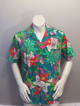 40f6183b Vintage Hawaiian Aloha Shirt - Green Floral Pattern Hilo Hattie - Men's