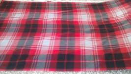 New Black Red & Gray Double Brush Plaid Fleece Fabric by the half-yard - $5.45