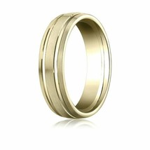 Fine 10k Yellow Gold 6 mm Comfort-Fited with Parallel Grooves Wedding Ba... - $235.62+