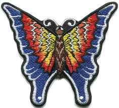 Butterfly fire design retro hippie embroidered applique iron-on patch T-37 - £2.44 GBP