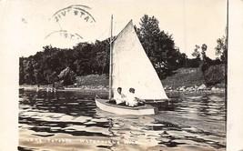 Boating on Lake Tetonka Waterville Minnesota RPPC Real Photo 1913 postcard - $9.85