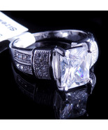 Ladies 14K White Gold Fn Lab Diamond Princess Cut Solitaire Engagement R... - $49.99