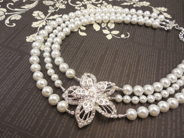 Three Strand, 6mm and 8mm White Glass Pearl Necklace with Rhinestone Flo... - $58.00