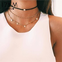 17KM Fashion Multilayer Choker Necklaces For Women Statement Crystal Coi... - $9.65