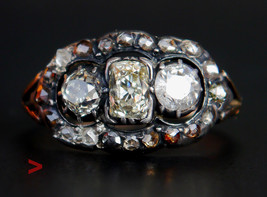 Antique European Ring solid 18K Gold Silver 1.5ct  Diamonds US 5.25 / 2.9gr - $675.18