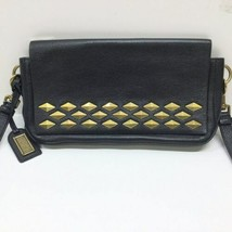 Badgley Mischka Black Leather Gold Stud Crossbody Shoulder Bag Purse image 1