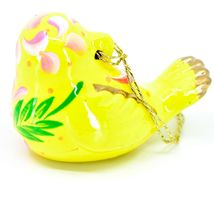 Handcrafted Painted Ceramic Yellow Canary Songbird Confetti Ornament Made Peru image 3