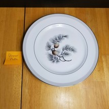 TWO (2) Kent China Silver Pine Dinner Plates Brown Pinecone Gray Needles  - $9.89