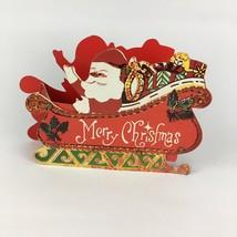 VTG Christmas 3D Pop Up Die Cut Cardboard Santa Sleigh Mantle Decoration... - $10.79