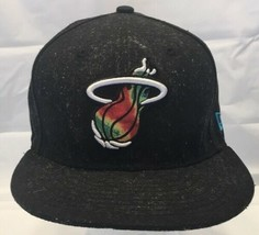 New Era Hardwood Classics Black NBA Miami Heat Hat Multi Color Logo  - $19.59