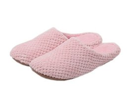 Solid Pink Warm Slippers Womens Scuffs, Free Size