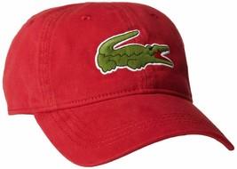 Lacoste Men's Classic Gabardine  Cotton Big Croc Logo Adjustable Red Hat Cap image 2
